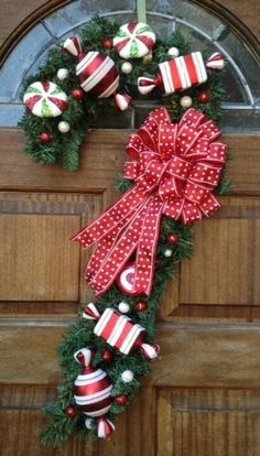 Candy cane Yule- Christmas wreath