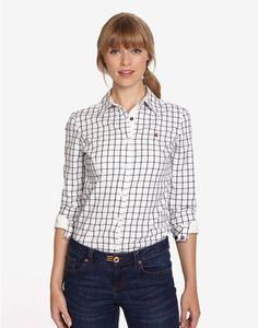 Joules OXFORD Womens Semi-fitted Shirt, Navy Check. A wardrobe must-have fit for any occasion. Semi fitted and in soft brushed cotton, this shirt will sit elegantly over both jeans and skirts.