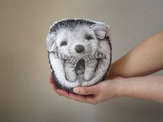 throw pillow hedgehog decorative pillow handpainted by MosMea