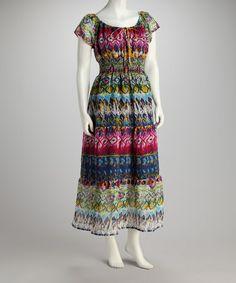 Look what I found on #zulily! Blue & Pink Drawstring Maxi Dress - Women #zulilyfinds