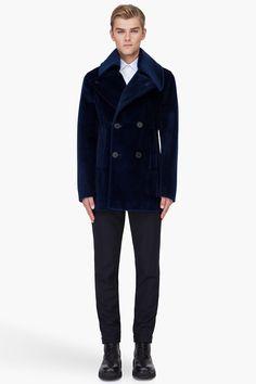 RAF SIMONS Dark Blue Caban Coat