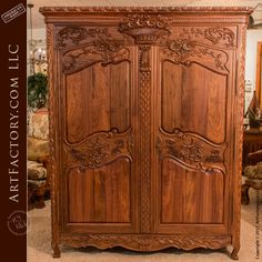 Hand Carved Walnut Armoire: Matches Hand Carved Walnut Bed – Custom, Fine Art Quality, Master Hand Carved Bedroom Furnishings Matching Armoire For Our Hand Carved Walnut Bed, An H. Solid Wood Bedroom Furniture, Luxury Bedroom Furniture, Antique Furniture, Antique Beds, Custom Furniture, Furniture Sets, Armoire Makeover, Antique Armoire, French Armoire