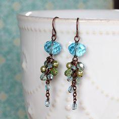 Blue Czech Glass Cluster Dangle Earrings by YuniDesigns on Etsy