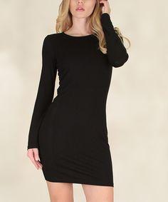 Black Long-Sleeve Bodycon Dress