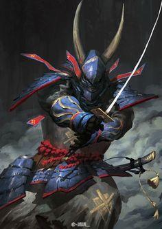 The Red & Blue Armored Samurai. Fantasy Armor, Medieval Fantasy, Dark Fantasy, Ronin Samurai, Samurai Warrior, Armor Concept, Concept Art, Ninja Assassin, Character Concept