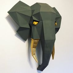 Make your own creative animal models from paper por LPobjects 3d Paper Crafts, Diy Paper, Low Poly, Panther, Paper Mask, Animal Heads, Easy, Deep, Sculpture