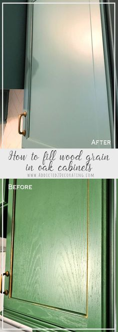 Oak cabinet Makeover - How To Fill Wood Grain On Oak Cabinets Before Painting Oak Kitchen Cabinets, Kitchen Paint, Kitchen Redo, Wood Cabinets, Kitchen And Bath, Kitchen Ideas, Bathroom Cabinets, Updating Oak Cabinets, Kitchen Office