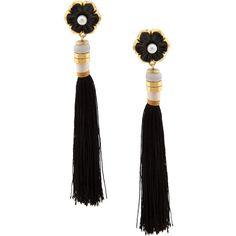 Lizzie Fortunato Tahitian Tassel Earring ($250) ❤ liked on Polyvore featuring jewelry, earrings, kirna zabete, flower jewelry, lizzie fortunato earrings, flower earrings, earrings jewelry and lizzie fortunato