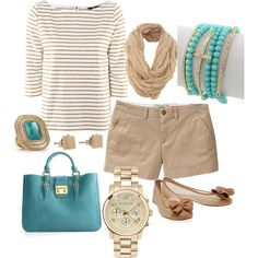 Gorgeous little spring and summer outfit. Love the tan and teal color scheme.