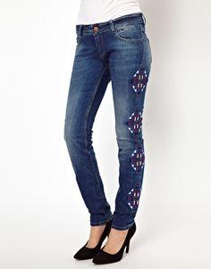 Maison Scotch La Parisenne Skinny Jeans with Embroidery Detail