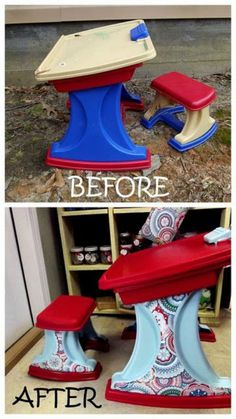 Upcycle a Plastic Desk with paint and fabric – how cute is that! Little Tikes and Upcycle Ideas on Frugal Coupon Living - Recycle your kids toys and turn them into something fun and new! Painting Kids Furniture, Painting For Kids, Desk Makeover, Furniture Makeover, Desk Redo, Little Tikes Makeover, Fabric Spray Paint, Little Tykes, Painting Plastic