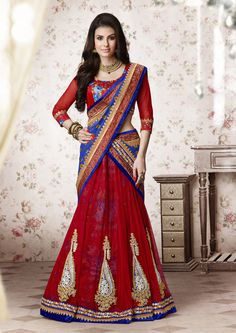 Red Net Wedding Lehenga Saree 61200