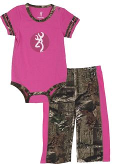 Browning Baby Girl Leaf Hopper Two Piece Set Ultra Pink/Mossy Oak Infinity