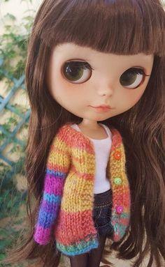 Rebeca de arco iris de mohair para Neo Blythe chaqueta por Mitilene