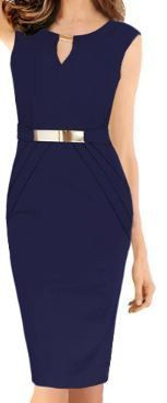 This navy blue dress has a gold belt and gold fasten on top. Comes in different colors, shop now! M - XXL.