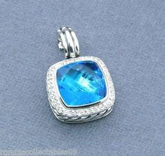 DAVID YURMAN 14MM ALBION PENDANT ENHANCER WITH BLUE TOPAZ  AND DIAMONDS - http://designerjewelrygalleria.com/david-yurman/david-yurman-14mm-albion-pendant-enhancer-with-blue-topaz-and-diamonds/