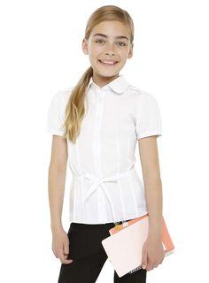 Tammy Girls White Belted Short Sleeved School Blouse - BHS