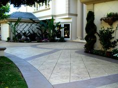 Photo Gallery - Concrete Driveways - Rancho Cucamonga, CA - The Concrete Network Stamped Concrete Driveway, Concrete Patio Designs, Concrete Driveways, Walkways, Concrete Stain Colors, Stained Concrete, Outdoor Fireplace Patio, House Design Pictures, Landscaping Retaining Walls