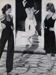 Vogue editorial by Helmut Newton, 1975, Lisa Taylor, Eva Nielsen, little black dress, black jumpsuit, white pants