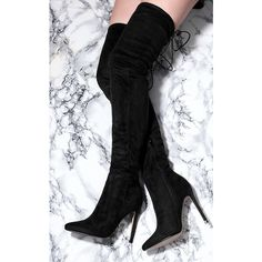 SpyLoveBuy Namje Lace Up High Heel Stiletto Over Knee Tall Boots... (67 CAD) ❤ liked on Polyvore featuring shoes, boots, black, over-the-knee suede boots, over the knee boots, tall lace up boots, high heel boots and over-the-knee high-heel boots