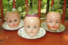 Vintage Doll Head Planters by ramshacklerascals on Etsy