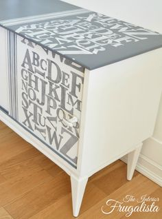 Mid Century Modern Record Cabinet Stenciled|The Interior Frugalista