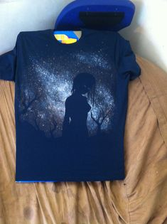 finished silhouette galaxy shirt - bleach spray, deColourant Plus paints, acrylic paint with textile medium