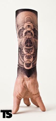 Pointillism Skull and Moon Tat - https://www.tattooideas1.org/placement/forearm/pointillism-skull-and-moon-tat/