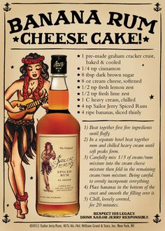 10 delicious recipes made with Sailor Jerry Rum. desserts and dinners ___ More Recipes? Visit our site now! Rum Recipes, Cheesecake Recipes, Cooking Recipes, Dessert Recipes, Margarita Recipes, Banana Cheesecake, Recipies, Easter Recipes, Sailor Jerry Rum