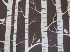 BIRD IN A BIRCH TREE - Hand Screen Printed Chocolate Brown Fabric - Eco-Friendly Linen\/Cotton - 1\/2 YARD (45.7cm x 143cm\/18inch x 56.3inch) - Independent Australian Designer Lara Cameron\/Ink And Spindle. $31.00, via Etsy.