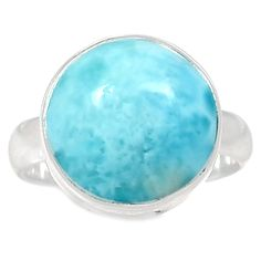 Larimar - Dominican Republic 925 Sterling Silver Ring Jewelry S.7 LRIR718