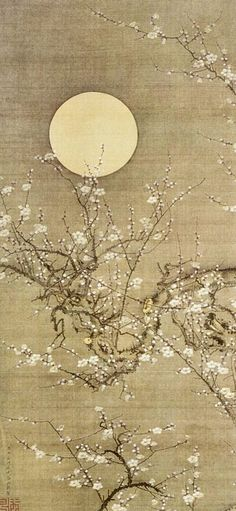 """Detail. White Plum Blossoms in Moonlight. 伊藤若冲 Itō Jakuchu. One of a set of 30 vertical hanging scrolls, """"Colorful Realm of Living Beings."""" (The Museum of the Imperial Collections), The Imperial Household Agency, Tokyo."""