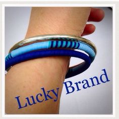 """Lucky Brand Set of Bracelets Bangles by Lucky Brand. brand new with tags. Retails for $35 -$40. Silver bangle has intentional very slight oxidation, see close up view. No damage. Brand new.  Measures 3"""" in diameter. Offers welcome. Lucky Brand Jewelry"""