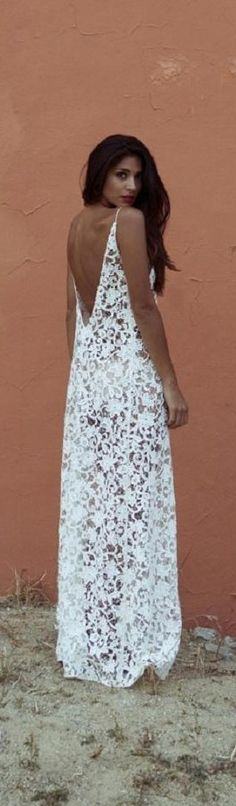 AMAZING!! Backless + lace white maxi dress.