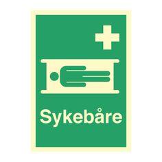 Sykebåre med tekst - Kjøp Nødskilt i netbutikken Logos, Logo