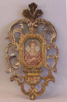 Renaissance Italian portrait of lady in gilt wood frame