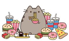Pusheen lots of food