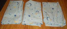 Pottery Barn Kids Moon Star Blue Yellow 2 Shams & 1 Pillowcase 3 Pc set #PotteryBarn
