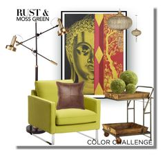 """""""Color Challenge: Moss Trolley..."""" by desert-belle ❤ liked on Polyvore featuring interior, interiors, interior design, home, home decor, interior decorating, NOVICA, Pottery Barn, colorchallenge and mossgreenandrust"""