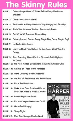 The Skinny Rules Via Bob Harper.- wish it was the lean rules or the healthy body rules. Skinny doesn't mean healthy, but great rules.