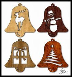 Scrollsaw Workshop: Easy to cut Christmas Ornaments. Scroll Pattern, Scroll Saw Patterns, Wood Patterns, Henna Patterns, Crochet Patterns, Christmas Wood Crafts, Christmas Items, Christmas Projects, Christmas Bells