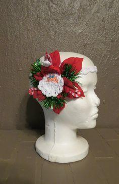 Blue Christmas Glitter Winter Fascinator Frozen Poinsettia Headdress on