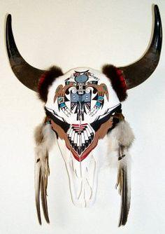 Replace photo with own Cow Skull Decor, Cow Skull Art, Bull Skulls, Deer Skulls, American Indian Art, Native American Art, Painted Animal Skulls, Buffalo Skull, Buffalo Art