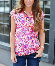 Another great find on #zulily! Fuchsia Every Day Floral Henley #zulilyfinds