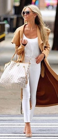 #fall #outfits Camel Coat + White Top + White Skinny Jeans + Checked Tote Bag