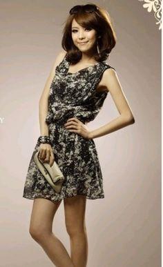 $6.49 Fashion Vintage Sleeveless Drawstring Neck Chiffon Dress