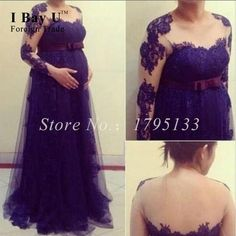 >> Click to Buy << Party Dresses For Pregnant Women Purple Lace Long Sleeve Backless Evening Gown Woman Dress Long Vestidos De Noche De Lujo 2016 #Affiliate