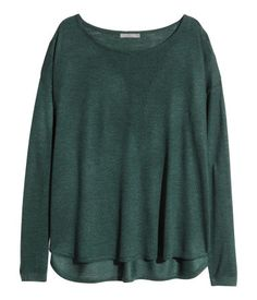 fine-knit sweater in dark green   H&M US