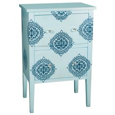 """Damask Sky Accent Chest in Blue I love this color and the chest is quite versatile! However, for 519 dollars...I might try my hand at stenciling first and hope for the best! haha """"Add chic, lively style to your bedroom, bathroom, or guest room with this delightful accent chest. Showcasing an exotic damask motif against a baby blue palette, this lovely piece offers ample storage for linens, towels, clothing, and more."""""""