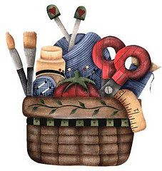 basket with craft items